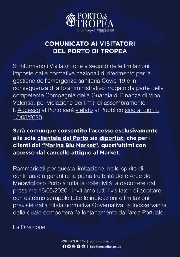Porto di Tropea - Comunicato ai Visitatori causa covid-19