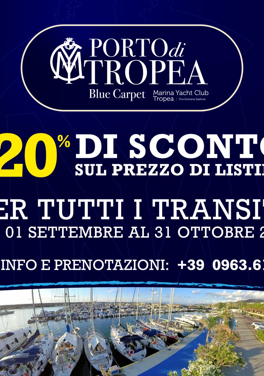 Porto di Tropea Sconto -20% per tutti i transiti dal 01 sett al 31 ott 2020